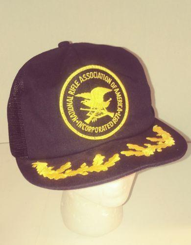 41f18f210112c 12. 12. Previous. Vintage 80s New NRA National Rifle Association Gold Leaf  Mesh Trucker Hat Black