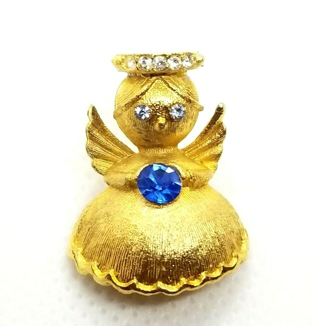 Primary image for VTG Ultra Guardian Angel Brooch Pin September Birthstone Sapphire Blue Crystal