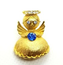 VTG Ultra Guardian Angel Brooch Pin September Birthstone Sapphire Blue C... - $19.31