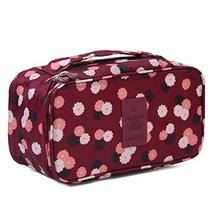 Wine Flower Pattern Portable Large Capacity Travel Cosmetic Bag