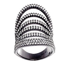 Pave Open 7 Row Stack Cubic Zirconia CZ Black Sterling Silver Knuckle Ring-Band - $129.00
