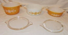 Vtg Pyrex Bowls w/ Lids Yellow 5 pcs Butterfly Gold Floral Casserole Dishes - $54.16
