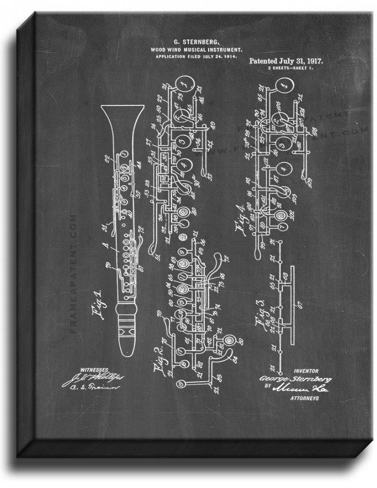 Primary image for Wood Wind Musical Instrument Patent Print Chalkboard on Canvas