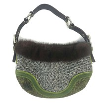 Coach Soho Limited Edition Tweed Fur Trim Python Small Hobo Handbag C052... - $46.71
