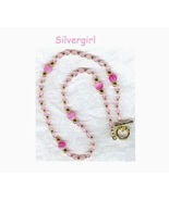 Pink Glass Acrylic Beaded Necklace  - $13.99