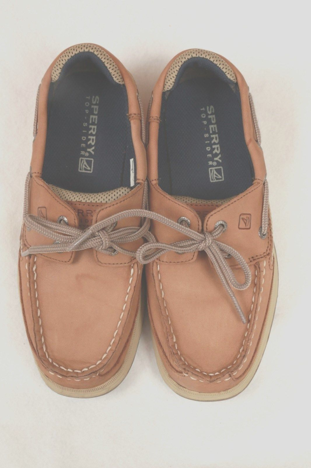 Sperry Top Sider Lanyard Shoes Boys Brown Beige 3.5 M Leather Laced MINT
