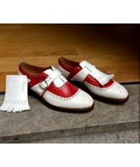 Handmade Men Red & White Leather Brogues and Fringe Monk Strap Shoes - $139.99+