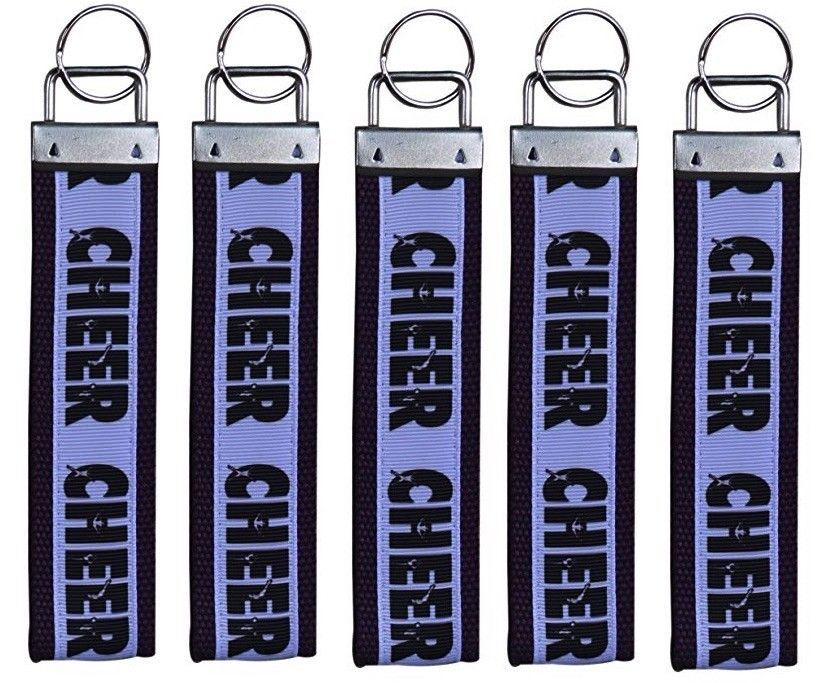 Primary image for 5 Cheer Keychain Bundle, Girls Black Cheerleading FOB Wristlet Keychain Gift