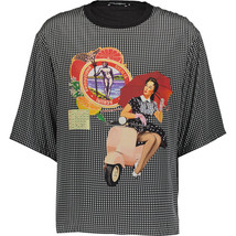 DOLCE & GABBANA Black & White Checkered Silk T-Shirt BNWT - $281.90