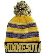 Minnesota Men's Blended Stripe Winter Knit Pom Beanie Hat (Purple/Gold) - $13.75