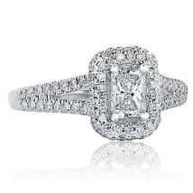 1.06 TCW H-VS2 Radiant Cut Diamond Split Shank Halo Engagement Ring 18K White Go - $5,346.00