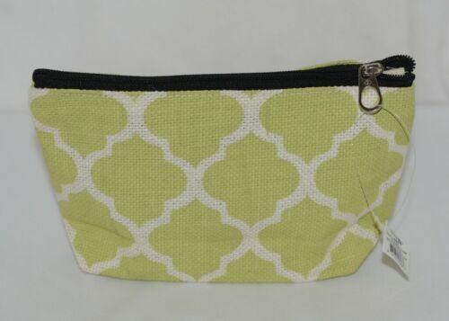 Ganz Style 101 ER32114 Lime Green White Geometric Design Cosmetic Bag