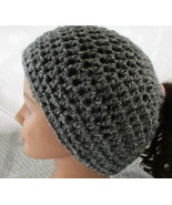 Messy Bun Ponytail Beanie Hat Shades of Charcoal Gray Crochet - $15.95