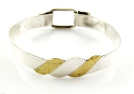 UNIQUE Vintage 1960s 70s Handmade Mixed Metals Sterling Silver & Brass Bangle BR - $195.00