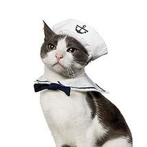 Vevins Pet Dog Cat Cosplay Costume Sailor Hat Navy Bow Tie Christmas Hal... - $18.83