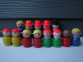 Vintage Fisher-Price Little People Wood Wooden Lot of 13 Figures - $65.09