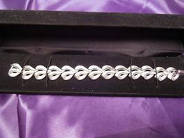 Vintage Crown TRIFARI Brushed Satin Silver Tone Finish Ribbon of Hearts ... - $34.65