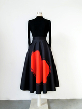 A-line Pleated Circle Skirt High Waisted Pleated Party Skirt Black Heart... - $59.99