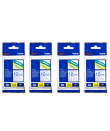 Brother Laminated 12mm Tape Cassette (Pack of 4), Blue on Clear, TZe-133 - $71.99