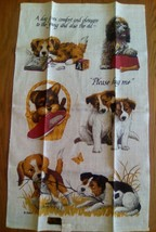 ADORABLE UNUSED VINTAGE KAYDEE LINEN KITCHEN TOWEL ~ PUPPIES - PLEASE HU... - $8.90