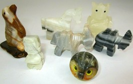 Vtg Lot Alabaster Marble Stone Carved Figurines Owl Dog Horse Donkey Tot... - $26.84