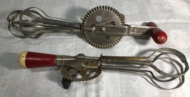 Egg Beaters (TWO), 1920-30, Vintage, Red Handles, Ekco FREE SHIPPING image 7