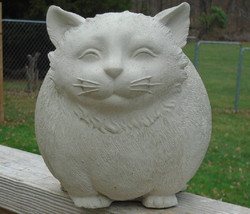 Concrete Statue, Whimsical Fat Cat, Mini Me, 12 Lbs of Fun, Mini Me, Indoor/outd - $34.99