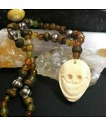 Necklace with Vintage Skull Pendant Amulet Buffalo Bone Agate Beads Trib... - $39.00