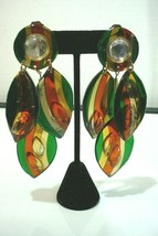 "Vintage Conceits  Clip ON Earrings Green Orange Yellow Mam' ""Style"" - $34.64"