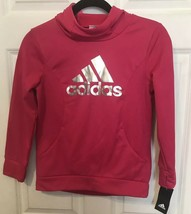 addidas Dk Pink Hooded Pullover Sweatshirt For Girls Small 7/8 - $26.72
