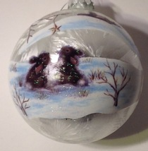 Christmas Ornament Glass Ball Silver Bunny Rabbits in Woods Raz - $13.86