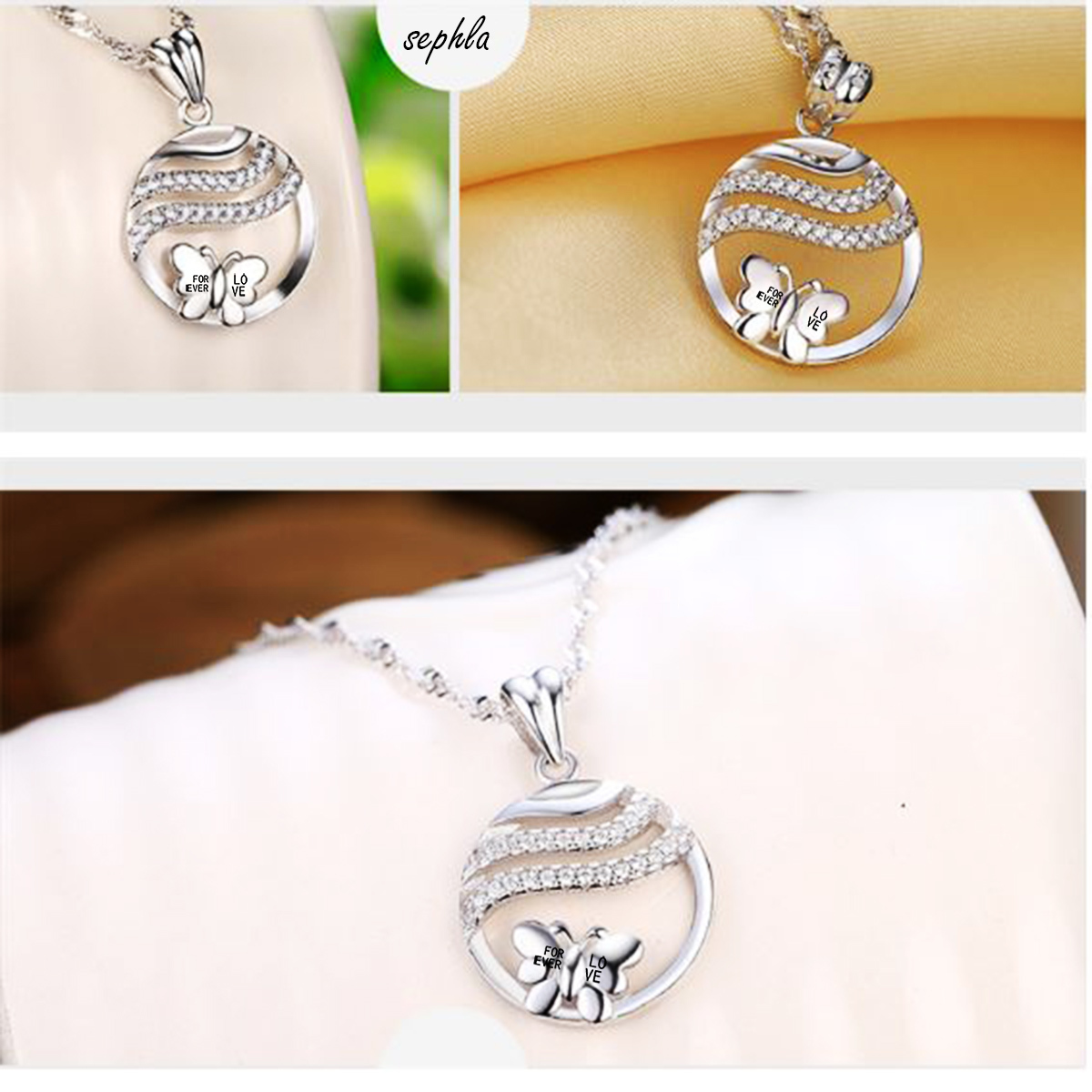 Emma Manor 14k White Gold Plated Forever Love Butterfly Pendant Necklace
