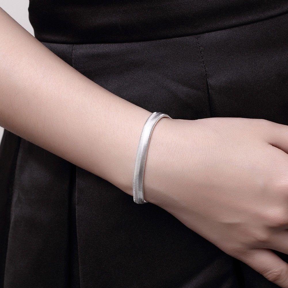 Silver Women's 6mm Snake Herringbone image 7