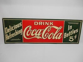 Old Vtg 1970's COCA-COLA METAL ADVERTISING SIGN Coke Delicious Refreshing - $296.99