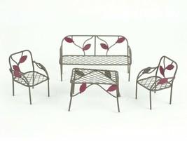4pc Miniature Seating Set - Metal Furniture - Fairy Garden - Maroon Leafs - $9.49