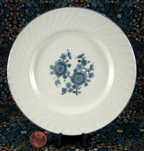 Wedgwood Royal Blue Bread And Butter Plate Jacobean Floral Platinum 1960s - $8.00