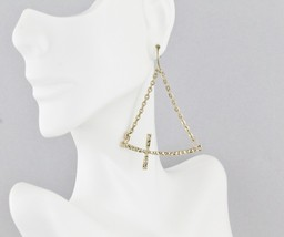 "Gold tone sideways horizontal hammered Cross dangle earrings 2.5"" long 1... - $6.47"