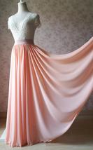 Coral Chiffon High Waist Full Maxi Skirt Coral Pink Wedding Chiffon Skirts image 3