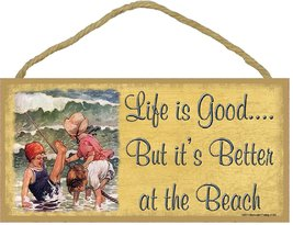 """Life Is Good But It's Better At The Beach Nautical Sign 5""""X10"""" Vintage S... - $12.86"""