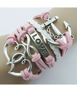 Braided  Leather Bracelet Anchor Love Friendship Charm Wrap plated Silver - $4.44