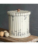 Farmhouse WHITEWASH CANISTER With LID Country Primitive Decor Storage Bi... - $51.99