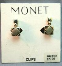 "VTG Monet Luxury Clip Earrings Gold Dangle Square Comfort New Old Stock .5"" Cute - $17.81"