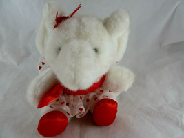 Small White Elephant Ballerina Plush Red hearts Tutu Ballet You're Tutu ... - $6.33
