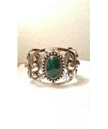 Mexican Green Dyed Onyx Cabochons Hinged Bracelet Sterling Silver Mexico - $114.00