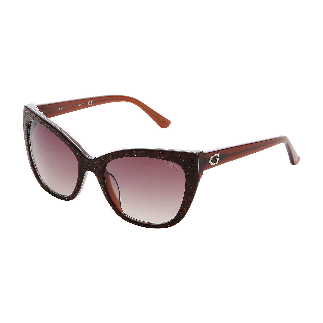 Womens Designer Sunglasses Guess GU7438 Brown Cat Eye UV Protected Polarized