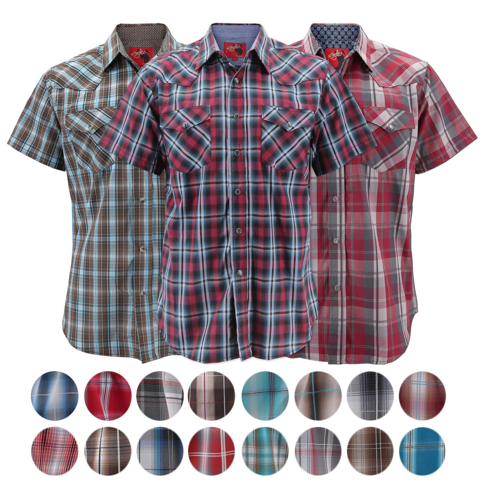 Rodeo Clothing Men's Western Pearl Snap Button Short Sleeve Casual Dress Shirt