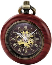 TREEWETO Vintage Wood Automatic Mechanical Pocket Watch For Men Women St... - $65.49