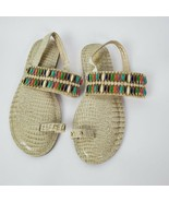 Amrita Singh Slip On Flats Gold Sandals with Multi-Color Jeweled Strap S... - $29.68