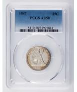 1847 25C Seated Liberty Quarter Graded by PCGS as AU58! Nice Strike! - $890.99