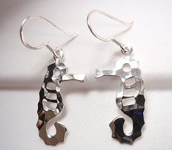 Hammered Seahorse Dangle Earrings 925 Sterling Silver Corona Sun Jewelry... - $16.82